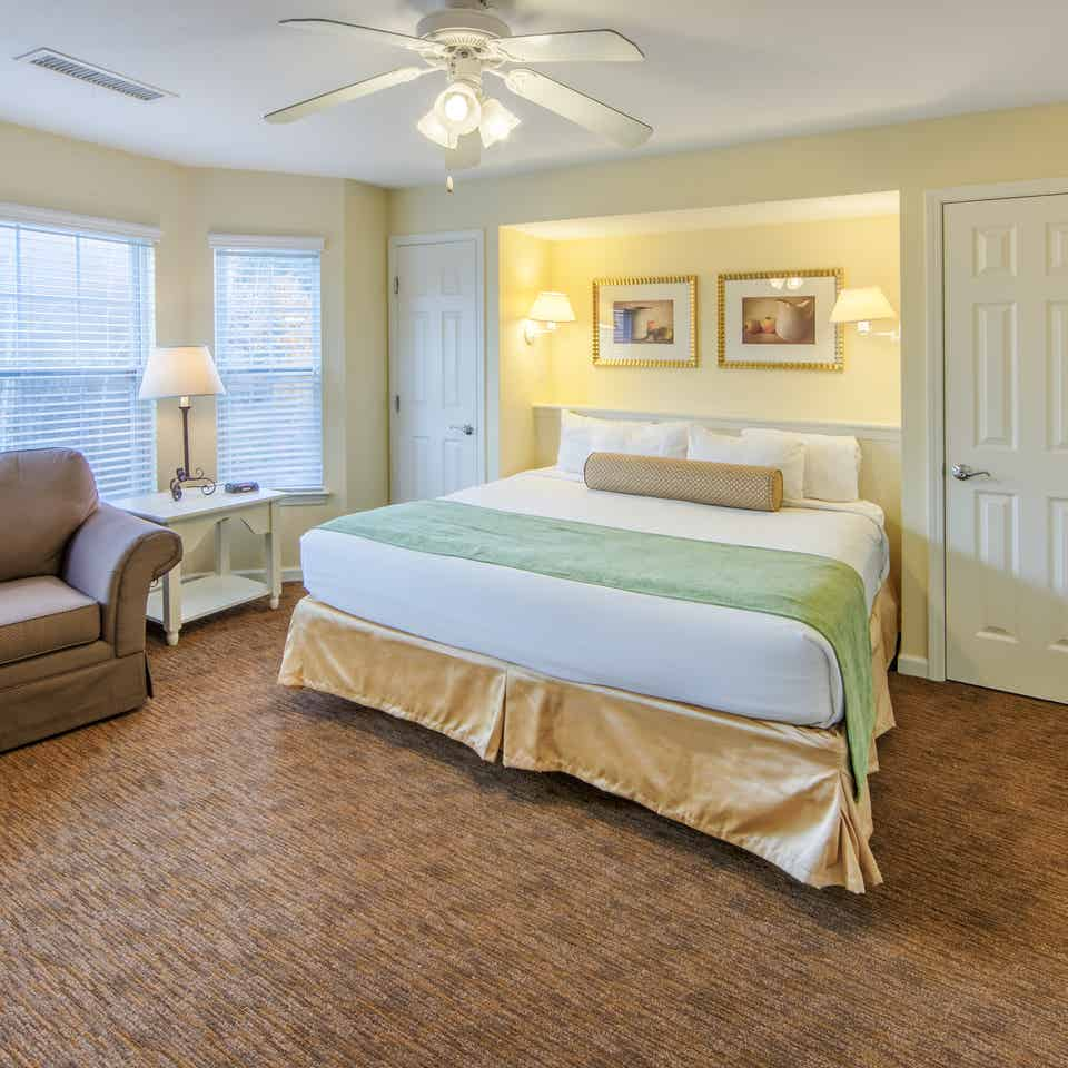 Master Bedroom in a two bedroom presidential villa at Oak n' Spruce Resort in South Lee, Massachusetts