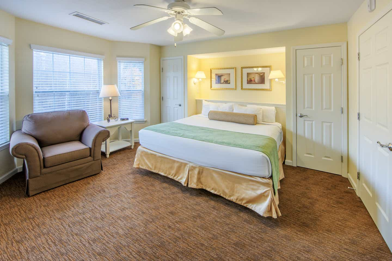Master Bedroom in a two bedroom presidential villa at Oak n' Spruce Resort in South Lee, Massachusetts