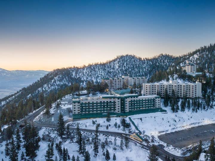 Aerial view of Tahoe Ridge Resort property nestled in the Sierra Nevada Mountains in Stateline, Nevada.
