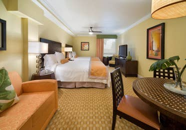 View of two queen beds in a studio room in West Village at Orange Lake Resort near Orlando, FL