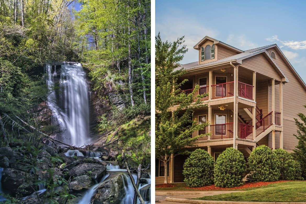 Left: The Anna Ruby Falls waterfall surrounded by lush green woods. Right: Exterior shot of our Apple Mountain Resort Villas.
