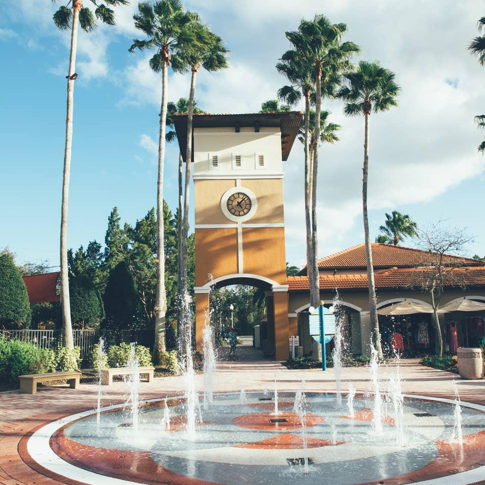 Splash pad in North Village at Orange Lake Resort near Orlando, Florida