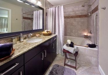Bathroom in a one-bedroom villa at Desert Club Resort in Las Vegas