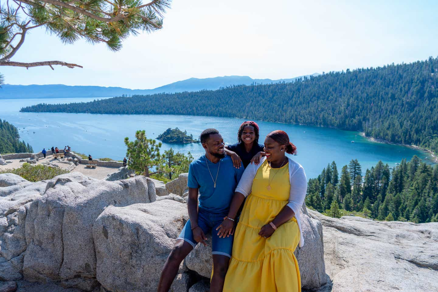 Karen and her family at Emerald Bay State Park
