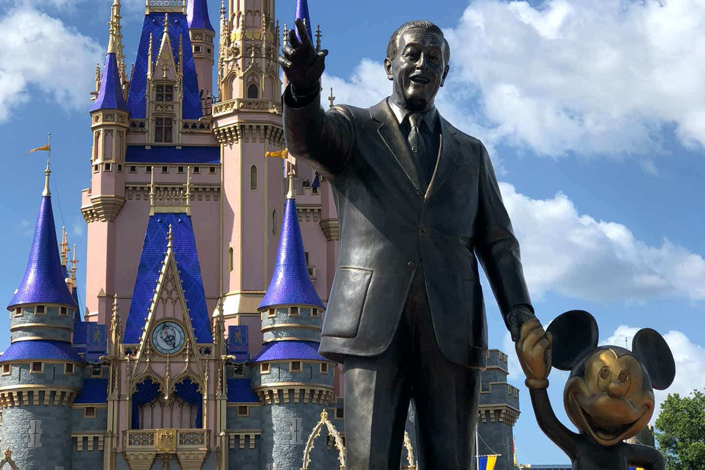 The 'Partners Statue' in front of Cinderella's Castle at Magic Kingdom at Walt Disney World Resort.