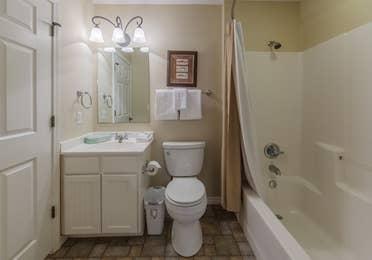 Bathroom in a villa at Holly Lake Resort in Holly Lake Ranch, Texas.