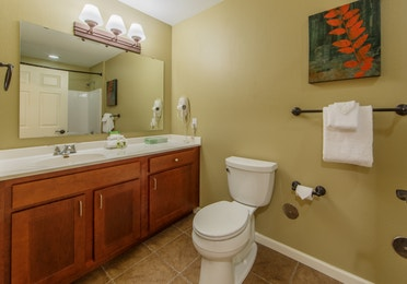 Bathroom with a sink, large counter area, and toilet in a studio villa at Fox River Resort in Sheridan, Illinois