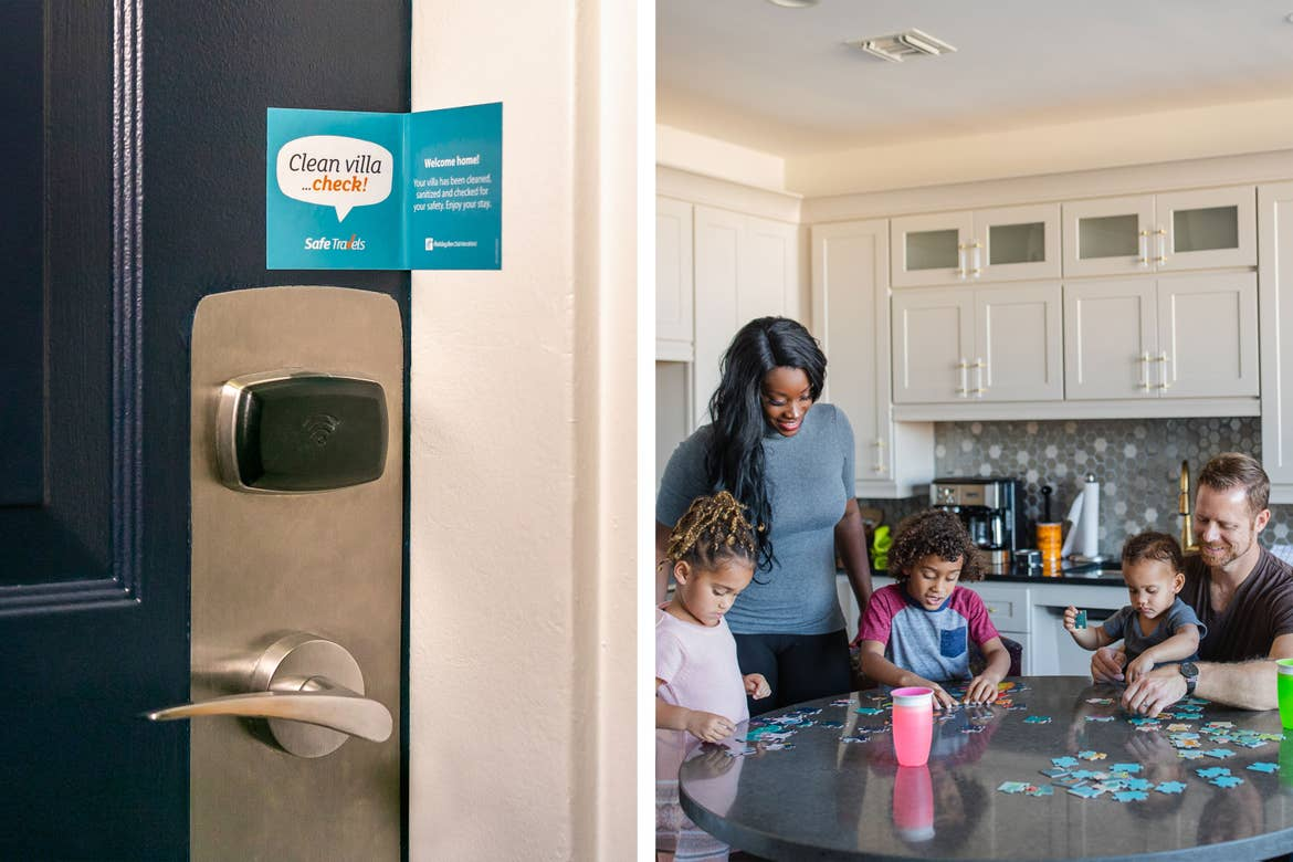 Left: Featured Contributor, Sally Butan (left) of @butanclan and her family enjoy puzzles in our Signature Collection villa at our resort in New Orleans, Louisiana. Right: A navy blue door to our villa with the 'Safe Travels' seal.