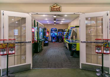 Entrance to game room and arcade at Fox River Resort in Sheridan, Illinois