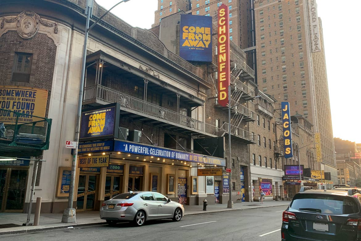 Exterior of the Schoenfeld Theater in New York City, currently home to the production of 'Come From Away - A Musical.'