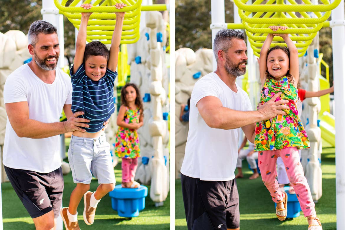 Left: Isaiah helps Samuel with at the playground monkey bars. Right: Isaiah helps Vanessa with at the playground monkey bars.