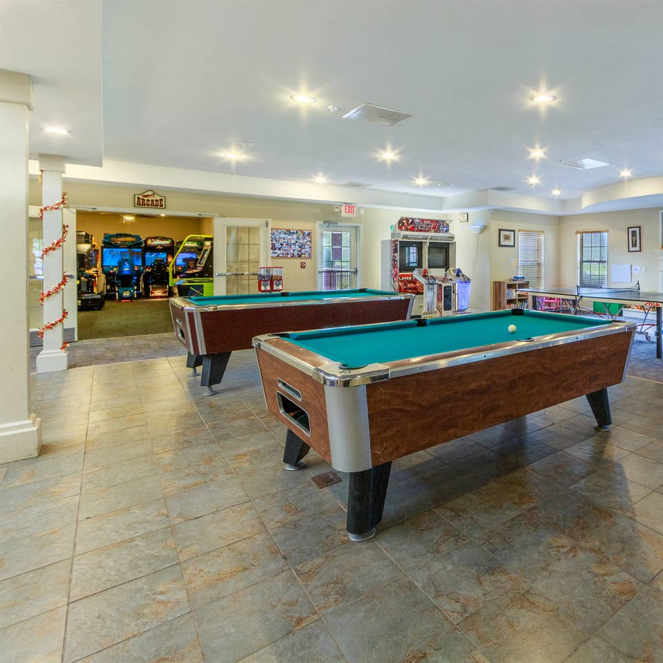 Activities Center with two pool tables at Fox River Resort in Sheridan, Illinois.