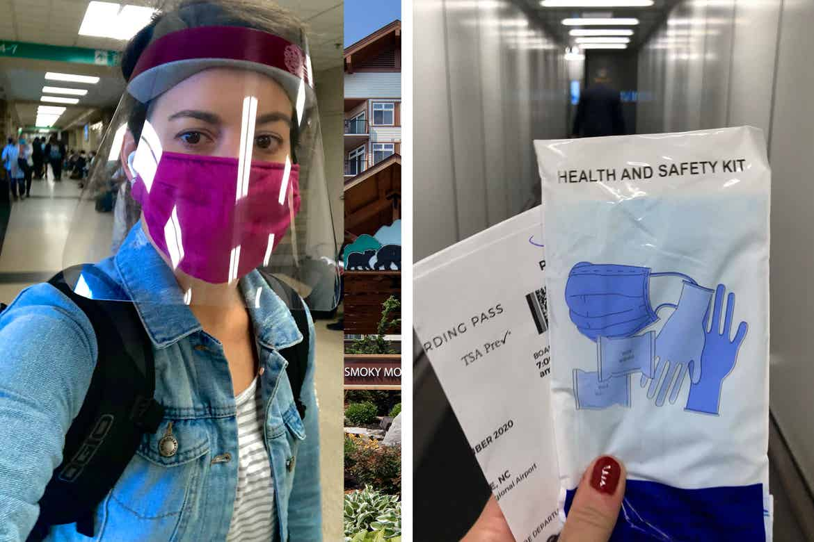 Left: Jennifer C. Harmon wears a pink face shield and safety mask walking through the airport terminal. Right: Jennifer holds her boarding pass and a safety kit provided in a white pouch.