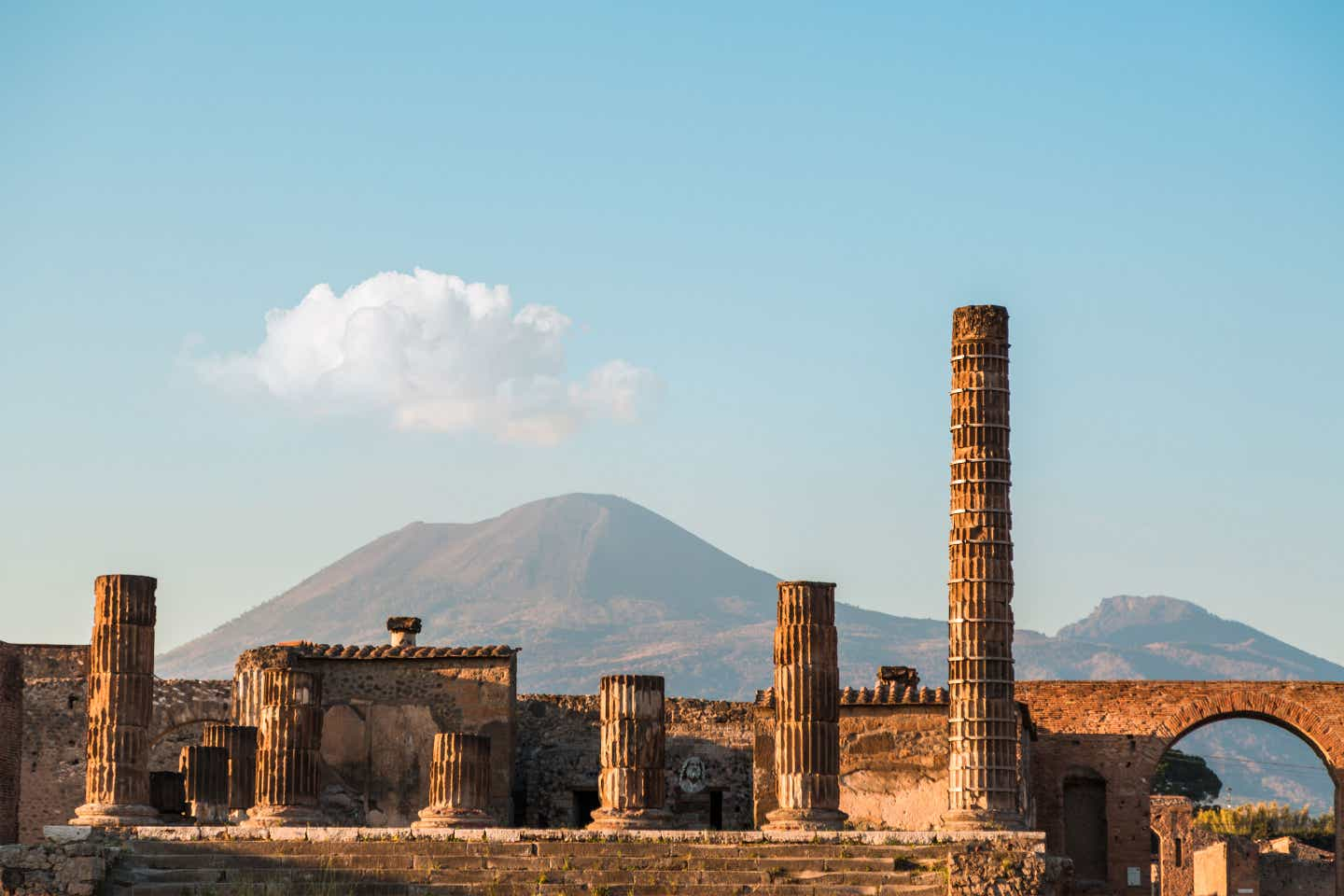 Mt. Vesuvius lurks in the background amongst the ruins of Pompeii.