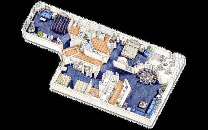 North Village three-bedroom villa floor plan
