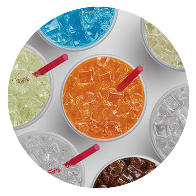 Overhead view of a variety of Big Gulp flavors.