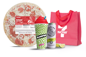 A collection of 7-Eleven products including a 7-Eleven take & bake at home Pepperoni Pizza, a cherry Slurpee drink, and a can of White Claw hard seltzer with a red 7NOW reusable delivery bag.