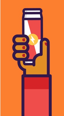 An illustrated phone wallpaper featuring a hand holding an energy drink on an orange background.