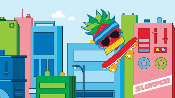 """A free """"Strawbizzle"""" illustrated ZOOM background, in a bright color pallete featuring a Strawberry 'Skater Boy' skating across a city skyline scene on a bright red skateboard."""