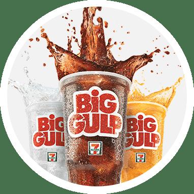 Three different Big Gulp flavors.