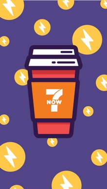 An illustrated phone wallpaper featuring a red 7-Eleven to go coffee cup a purple background with lightening bolts.