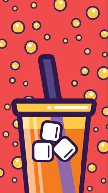 An illustrated phone wallpaper featuring a Big Gulp soda on a red background with floating orange bubbles.