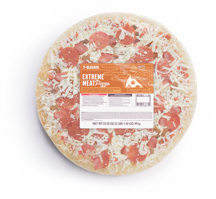 A top down view of a take & bake at home 7-Eleven Extreme Meat Pizza