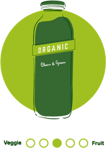 An illustrated circular icon in green hues featuring 7-Eleven's Clean & Green cold pressed juice.