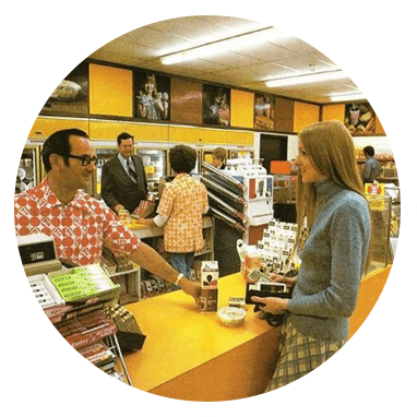 """An old or """"retro"""" photo of a 7-Eleven store"""
