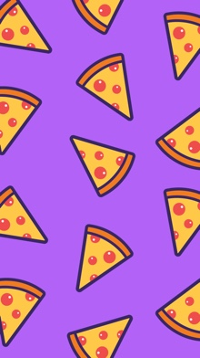 An illustrated phone wallpaper featuring pepperoni pizza slices on a purple background.