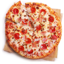 A top down view of a freshly baked 7-Eleven Extreme Meat Pizza