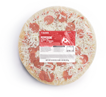 A top down view of a take & bake at home 7-Eleven Pepperoni Pizza