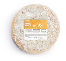 A top down view of a take & bake at home 7-Eleven Triple Cheese Pizza