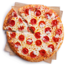 A top down view of a freshly baked 7-Eleven Pepperoni Pizza