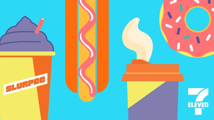 """A free """"Snack Attack"""" illustrated ZOOM background, in a bright color pallete featuring classic 7-Eleven products: a Slurpee, a Big Bite hot dog, a to-go coffee and a pink iced donut."""