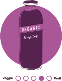 An illustrated circular icon in purple hues featuring 7-Eleven's Berry Bright cold pressed juice.