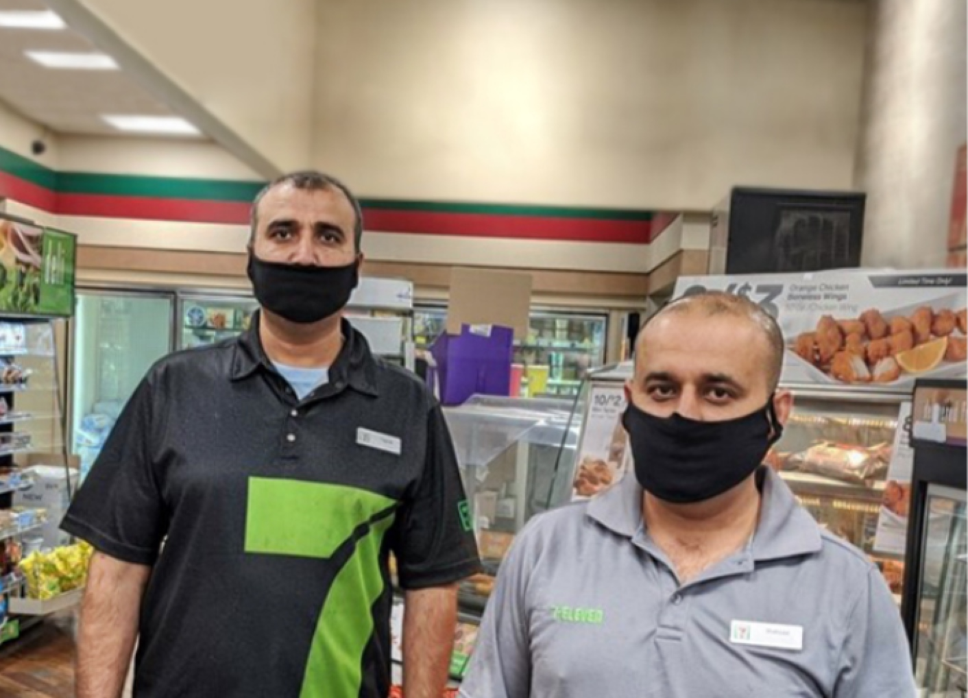 Chicago franchisee Shahzad Bashir in his 7-Eleven store with an employee.