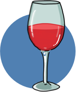 An illustration of a glass of cabernet wine.
