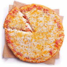 A top down view of a freshly baked 7-Eleven Triple Cheese Pizza