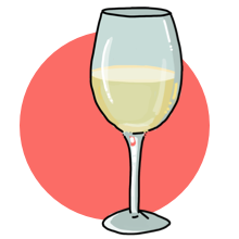An illustration of a glass of chardonnay wine.