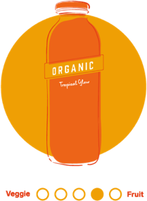 An illustrated circular icon in orange hues featuring 7-Eleven's Tropical Glow cold pressed juice.