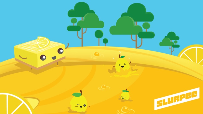 """A free """"Lemon Bar"""" illustrated ZOOM background, in a bright color pallete featuring a lemon slice dessert and some lemon fruits swimming in a yellow lemon Slurpee pool, with trees and a blue sky background."""