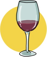 An illustration of a glass of malbec wine.