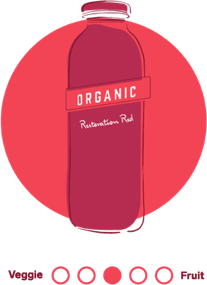 An illustrated circular icon in red hues featuring 7-Eleven's Restoration Red cold pressed juice.