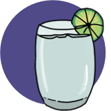 An illustration of a vodka soda cocktail.