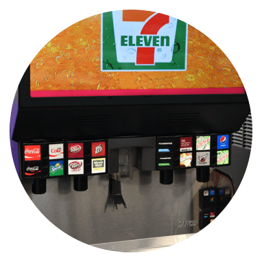 The 7-Eleven soda fountain with Coke, Diet Coke, Pepsi, Dr Pepper, Sprite, Coke Zero and various other soda varieties.