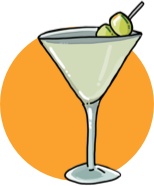 An illustration of a dirty martini cocktail.