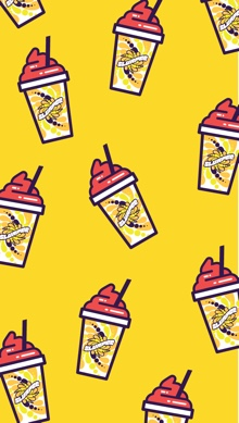 An illustrated phone wallpaper featuring cherry Slurpee drinks on a yellow background.