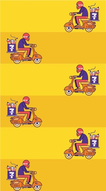 An illustrated phone wallpaper featuring rows of 7NOW delivery scooters on a yellow background.