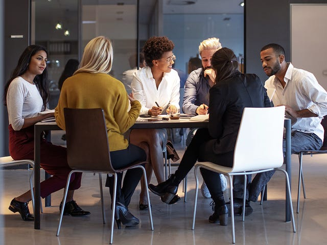 group of people in a global meeting
